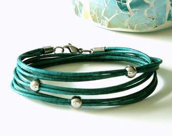 Leather bracelet turquoise, Boho bracelet, wrap bracelet turquoise, genuine leather bracelet, leather wrap bracelet, triple wrapped, gift, gifts for her