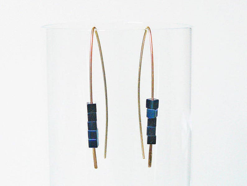 Earrings blue Hematite Earrings gold filled earrings Mother gift Earrings with Hematite gold filled jewelry geometric earrings