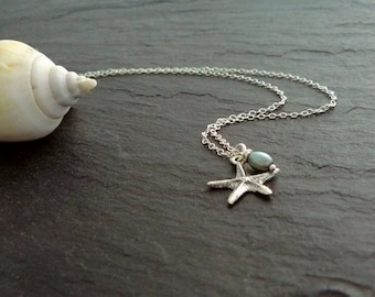 Starfish Necklace silver, fine silver necklace, starfish pendant, necklace starfish, EtsyTurns13, gift for her, layering necklace, Boho jewelry
