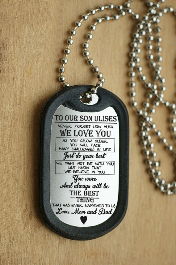Pendant Necklace From Mom Best gift to my son army dog tag son gift E custom son dog tag son pendant necklace gift for her boy birthday
