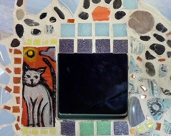 Colorful Cat Mosaic Mirror