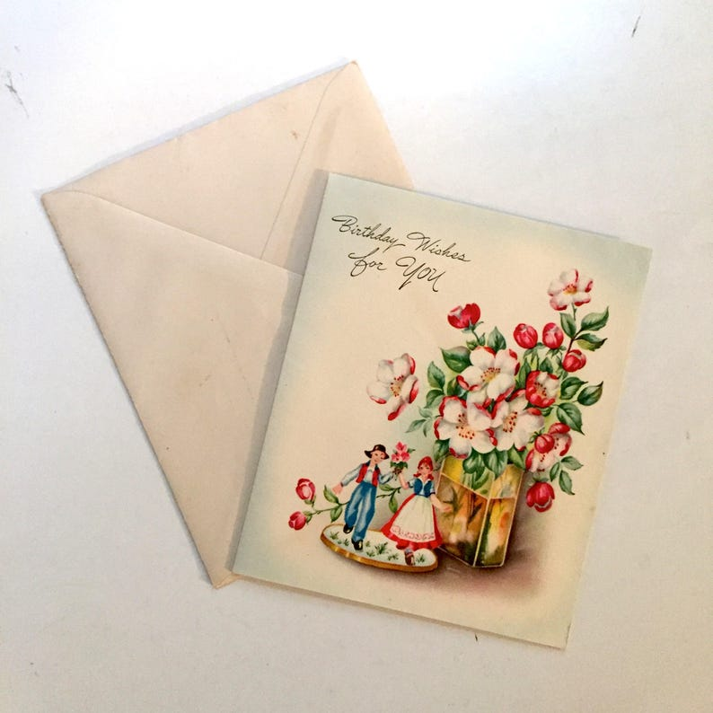 Vintage 1940s Birthday Card German Kids Birthday Card
