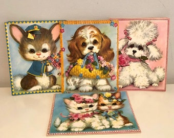 Vintage 1970s Boxed Animal Cards Unused Boxed Cat Cards Pet Set Notes