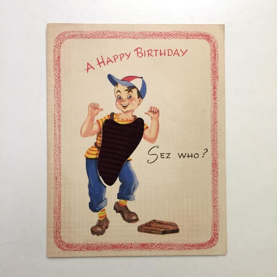 Vintage 1940s Boy Birthday Card Umpire Baseball