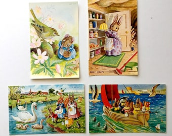 Vintage Racey Helps Postcards A Sail Around The Bay, The Cygnets, How Are You To-Day Somebody's Watching Unused Vintage Postcards