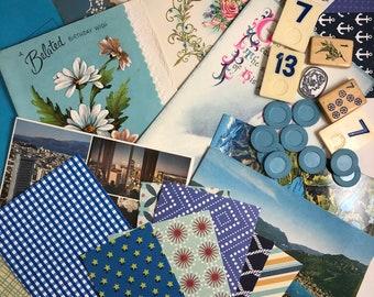 Junk Journal Vintage & Mixed Blue Ephemera Paper Pack Kit Mixed Media Orange 25 Piece Vintage Journaling Kit