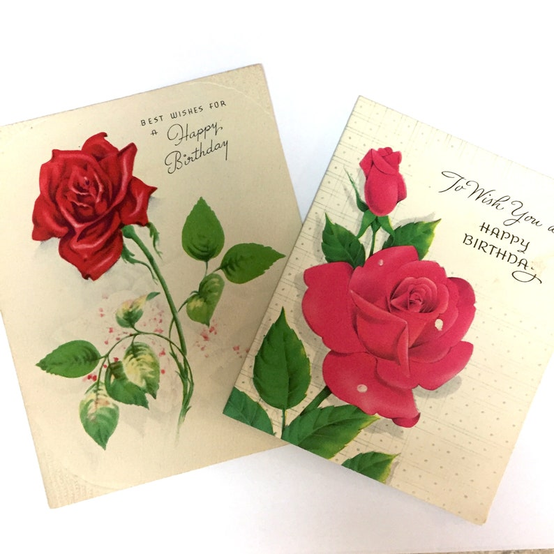 Vintage 1940s Rose Birthday Cards Lot Of Two Floral