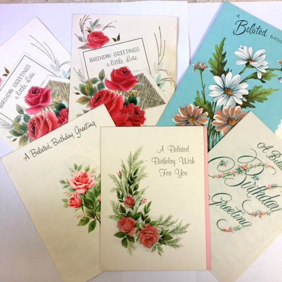Vintage 1950s Belated Birthday Cards Lot Of 6 Vintage Rose Etsy