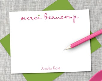 Personalized Stationery / Personalized Stationary Set / Merci Beaucoup Personalized Thank You Note Cards / Customized Flat Thank You Notes