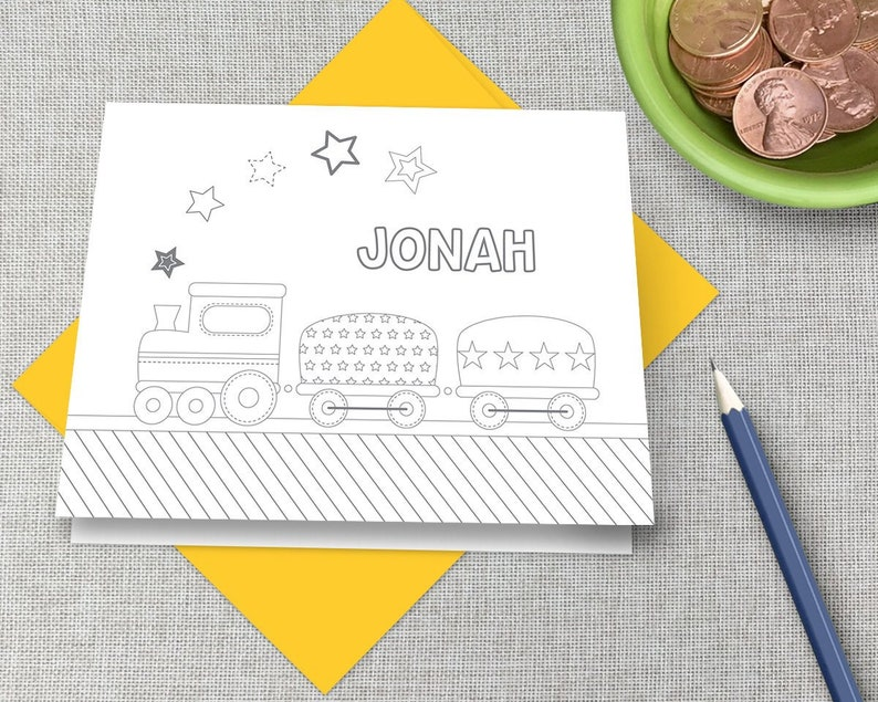 Color Your Own Children/'s Personalized Stationery  Customized Kid\u2019s Coloring Thank You Note Cards  Cute Train Stationary  Train Note Card