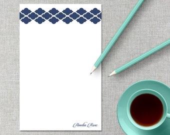 Personalized Notepad / Monogram Notepad / Quatrefoil Custom Notepad