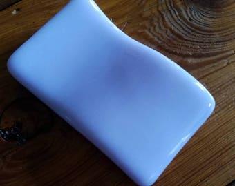 Spoon rest, Lavender, light purple fused glass spoon rest.