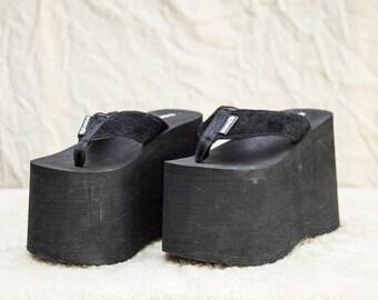 2854b32887b 90s Bostex Black Foam Slip On Club Kid Platform Flip Flop Thong Sandals • 6