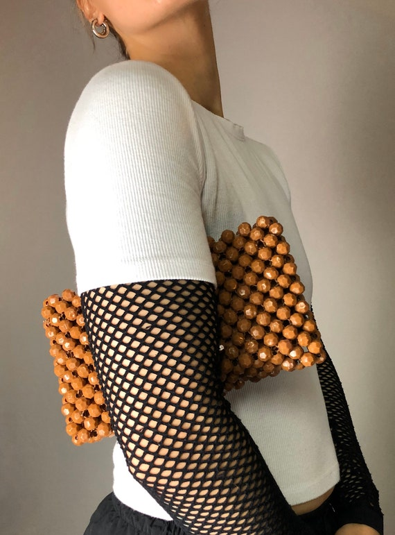 60s Brown Beaded Bobble Zipper Top Clutch Bag • M… - image 9