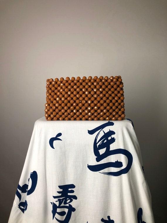 60s Brown Beaded Bobble Zipper Top Clutch Bag • M… - image 2