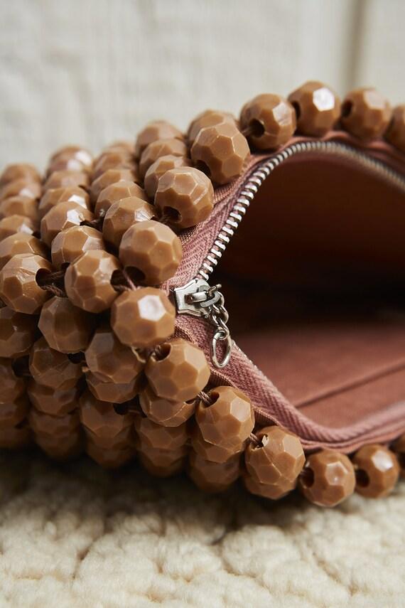 60s Brown Beaded Bobble Zipper Top Clutch Bag • M… - image 6