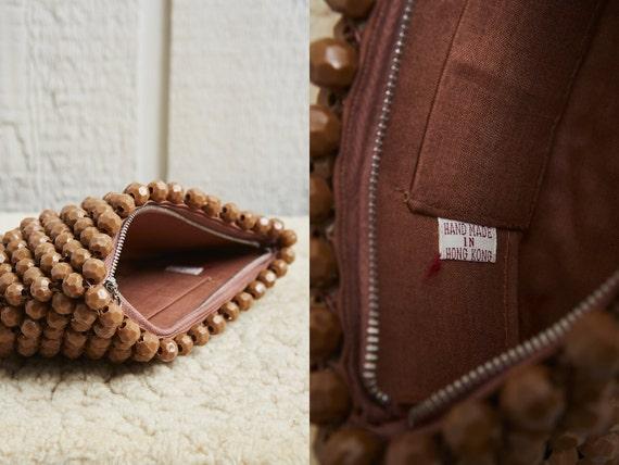 60s Brown Beaded Bobble Zipper Top Clutch Bag • M… - image 5