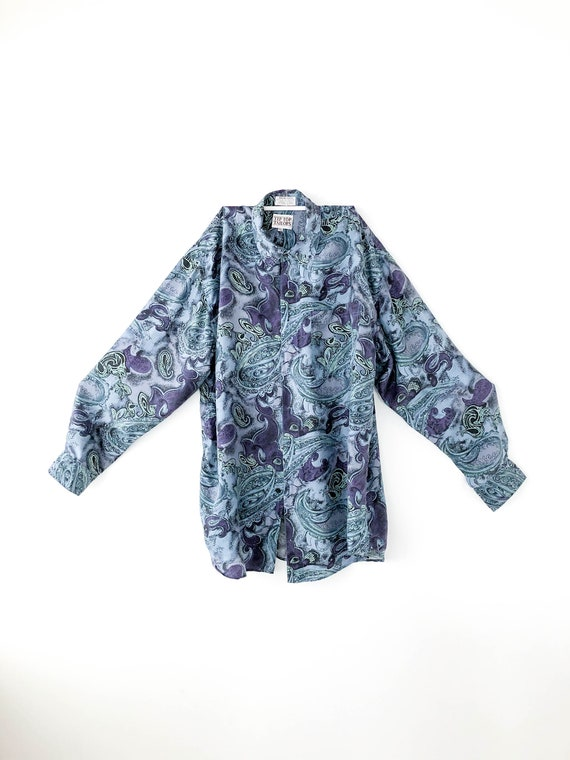 90s Tip Top Blue Silk Purple Paisley Patterned But