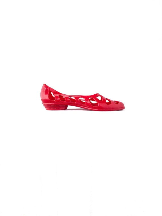 80s 90s Cherry Red Cut Out Plastic Jelly Slip On S