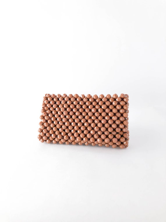 60s Brown Beaded Bobble Zipper Top Clutch Bag • Me