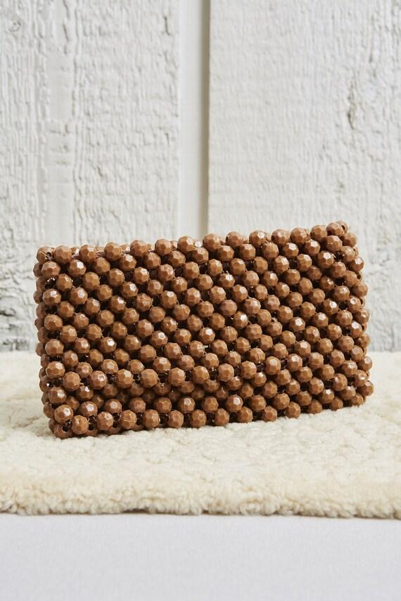 60s Brown Beaded Bobble Zipper Top Clutch Bag • M… - image 3