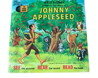 Vintage 1969 Walt Disney's Johnny Appleseed Children's Book and 45 Record