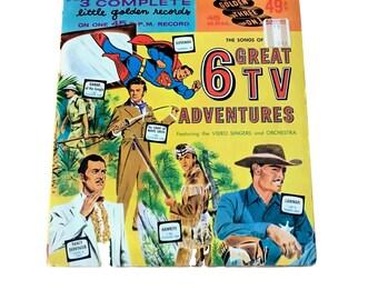 6 Great TV Adventures Vintage Children's 45 Record