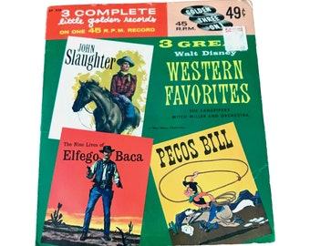 3 Great Westerns Children's 45 Record 1958