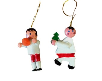 Vintage Set of 2 Hand Painted Wooden Christmas Ornaments