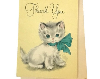 Vintage Mid Century Unused Kitten Thank You Cards Set of 6