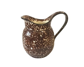 Vintage Stangl Brown Spongeware Ceramic Pitcher