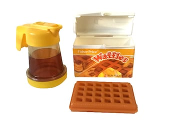 Vintage Fisher Price Play Food Waffles and Syrup Pitcher