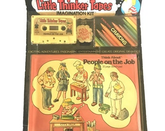 Little Thinker Tapes Vintage 1981 Children's Activity Cassette and Book Set NIP