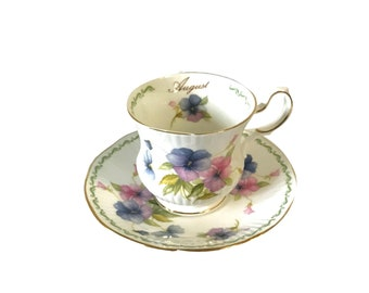 Vintage Queen's Rosina Tea Cup & Saucer August Pansy