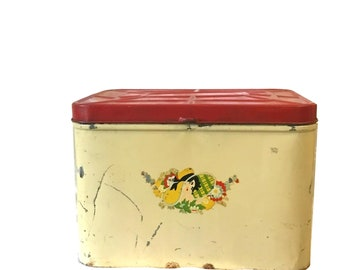 Distressed Vintage Red and Yellow Painted Tin Breadbox