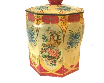 Mid Century Regal Crown Candy Tin With Lid
