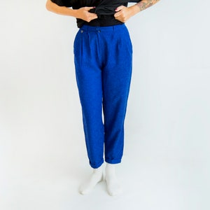 Banani Fashion Blue Viscose 80s Style Pants Retro Street Womens Trousers Love 80s Jogging Pants