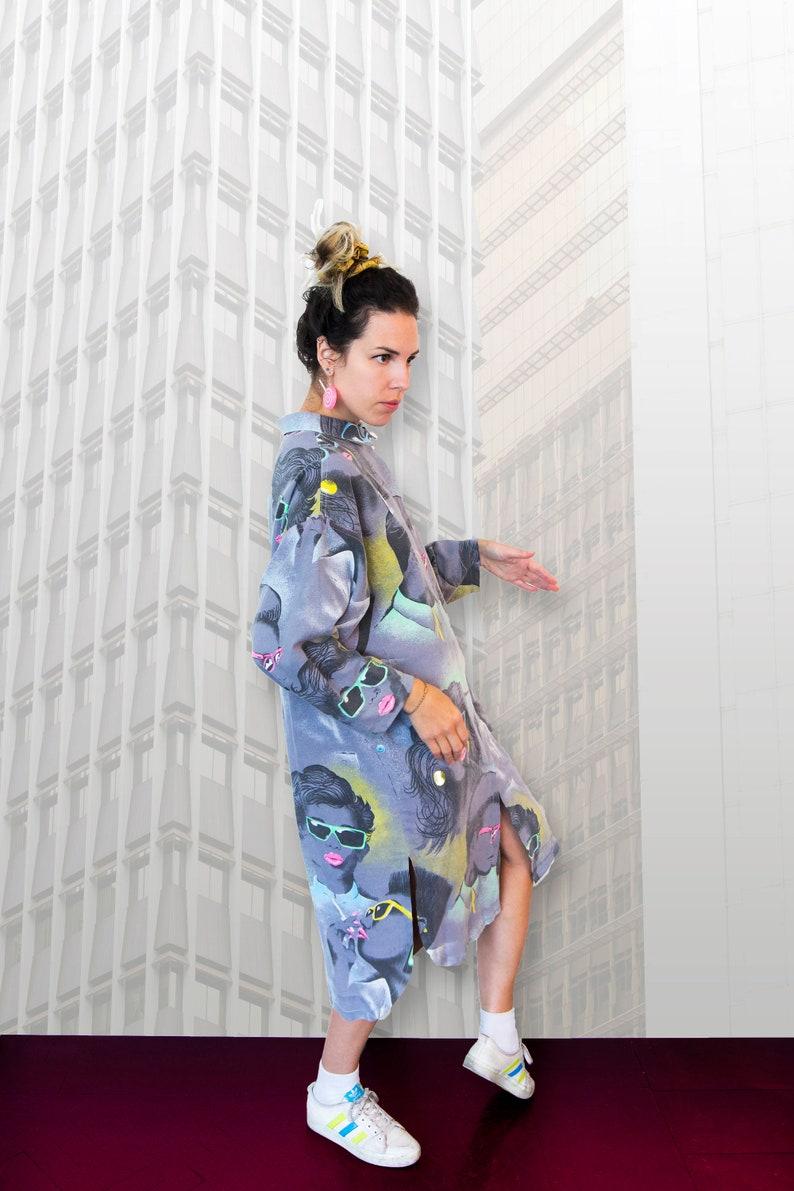 Banani Mode 80er Jahre Shirt Kleid Vintage Stoff Street Style Etsy