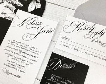 Black White Wedding Invitations Etsy