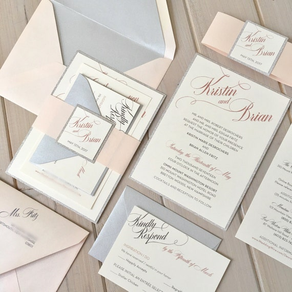Blush Ivory And Silver Wedding Invitations Blush And