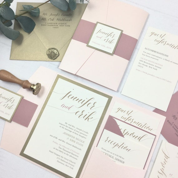 blush gold and ivory wedding invitations pink gold and etsy