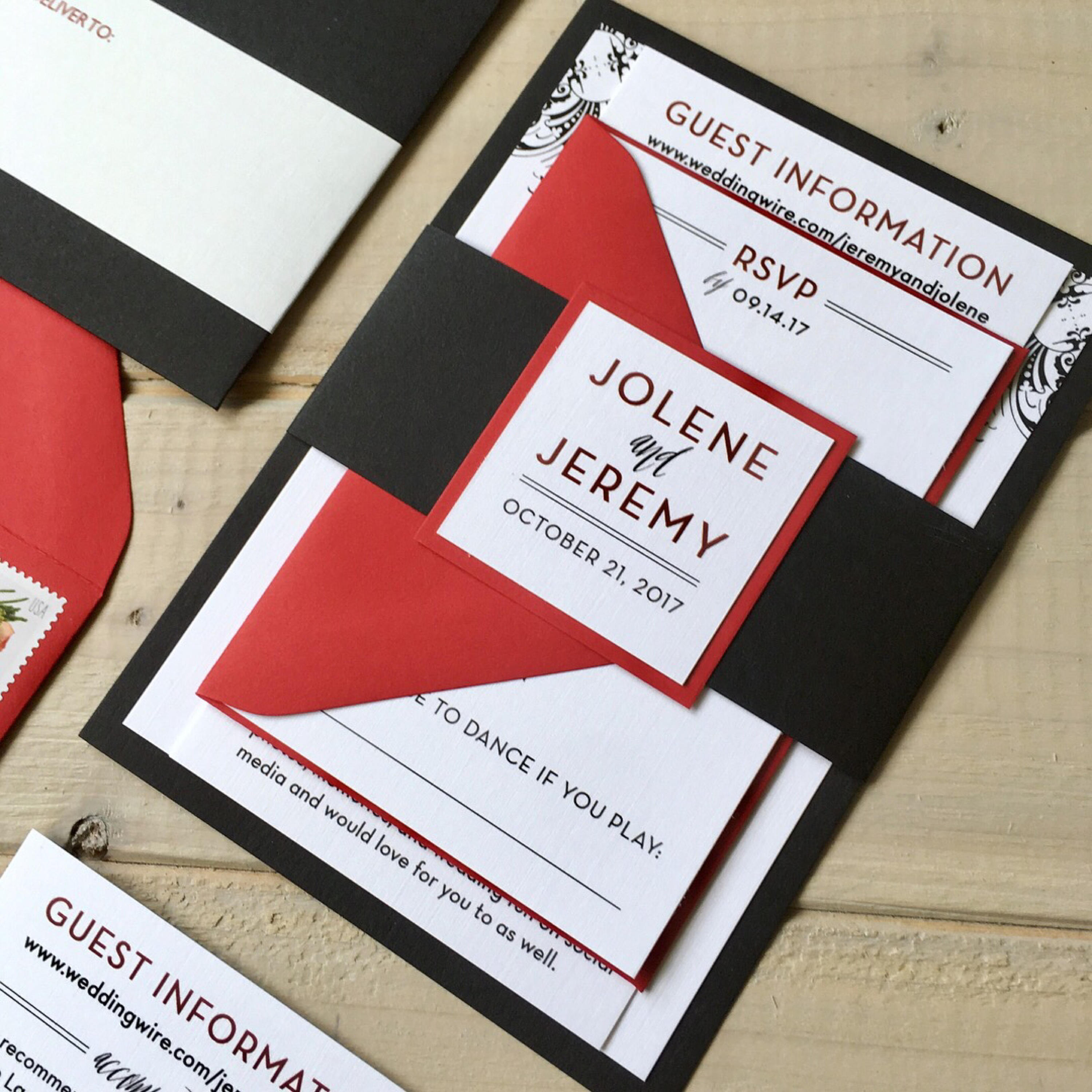 Black and Red Wedding Invitations Black and White Wedding | Etsy