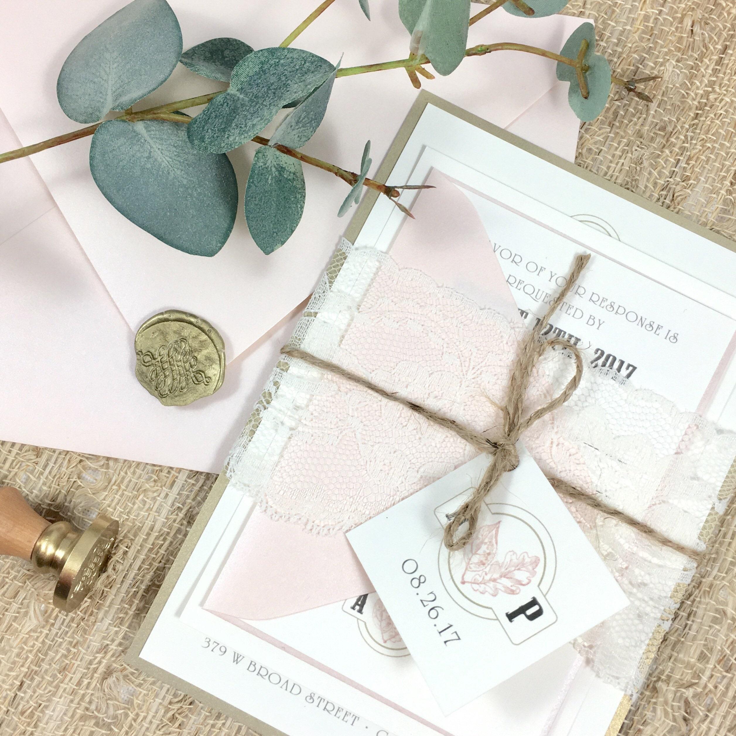 Gold And Blush Wedding Invitations: Blush And Gold Wedding Invitations Blush Gold And Ivory