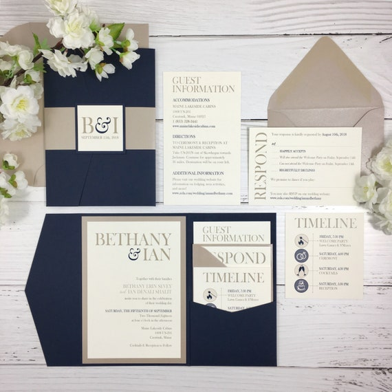 Navy And Champagne Wedding Invitations Navy And Tan