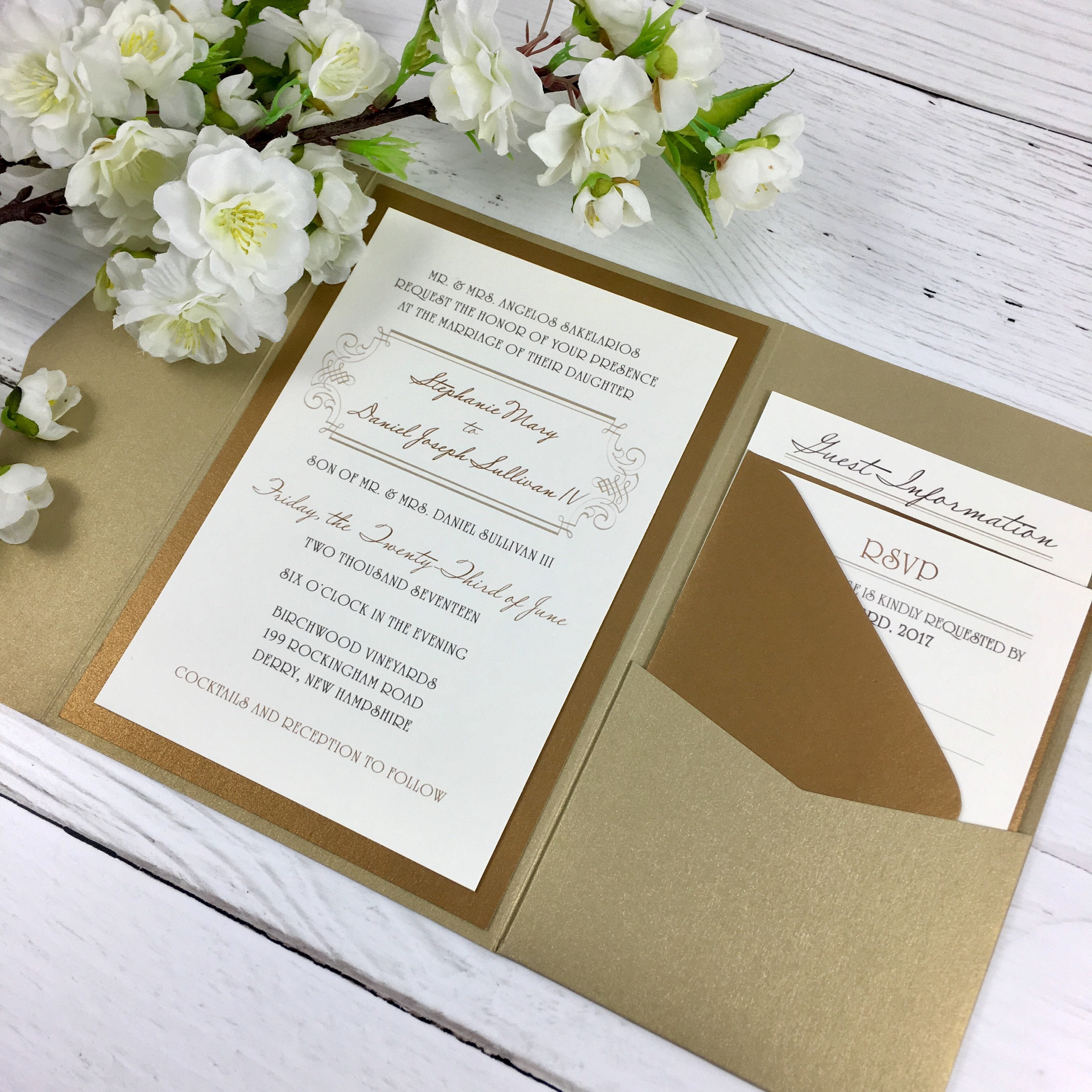 Neutral Wedding Invitations Gold Wedding Invitations | Etsy