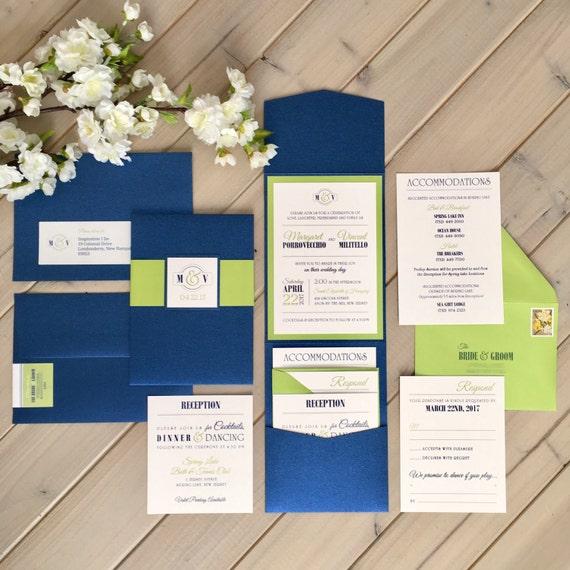 Navy And Lime Green Wedding Invitations Pocket Invitations Etsy