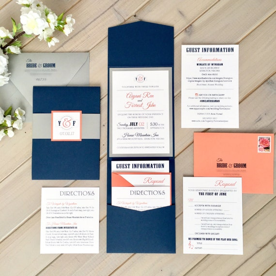 Coral And White Wedding Invitations: Navy Gray And Coral Wedding Invitations Modern Wedding
