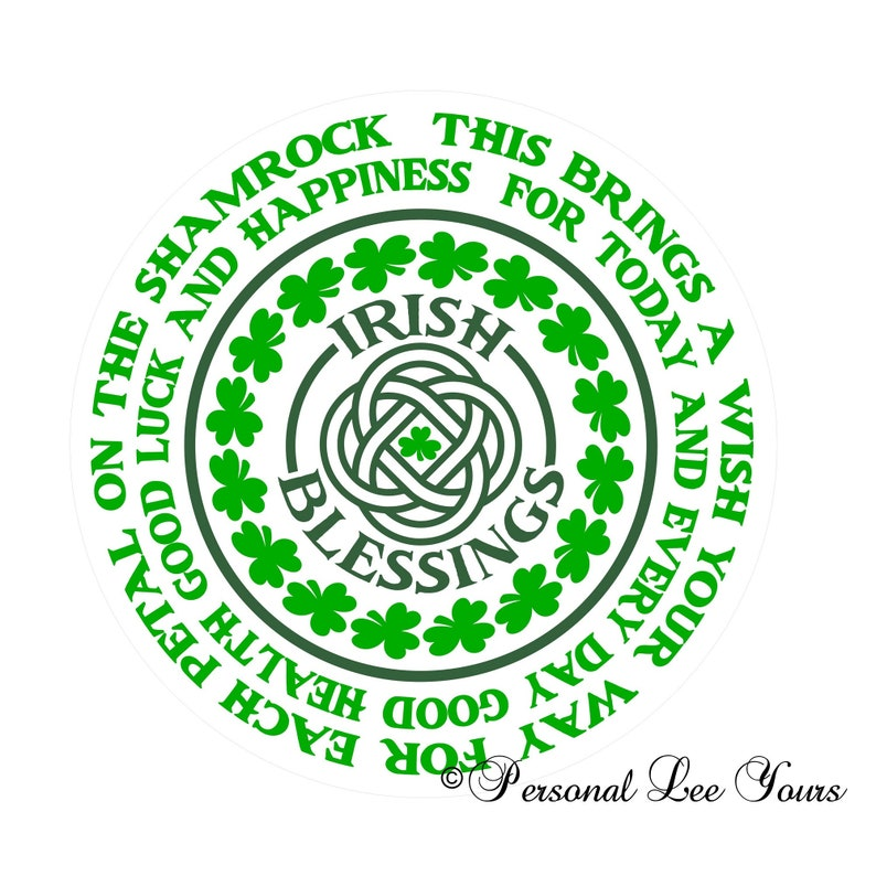 8 Round Irish Blessings Metal Wreath Sign Adhesive Mounts Included