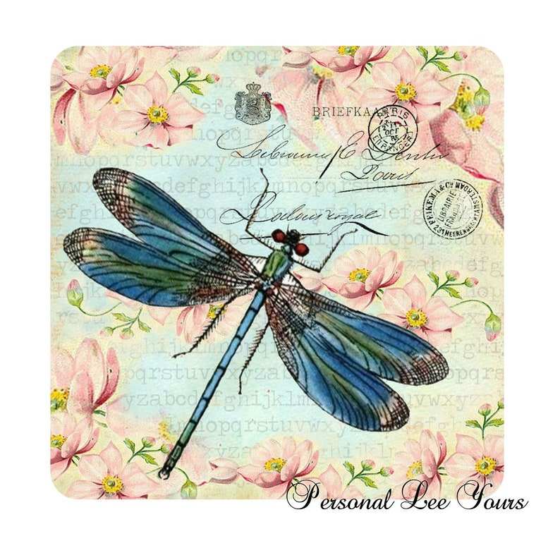 Dragonfly Postcard Metal Wreath Sign 6x6 or 8x8 Adhesive Mounts Included
