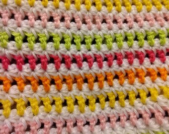 Hand Crocheted Bright Striped Baby Blanket